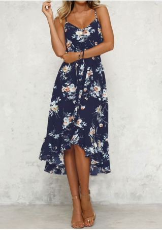 Floral Ruffled Asymmetric Maxi Dress