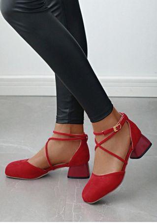 Solid Buckle Strap Heels