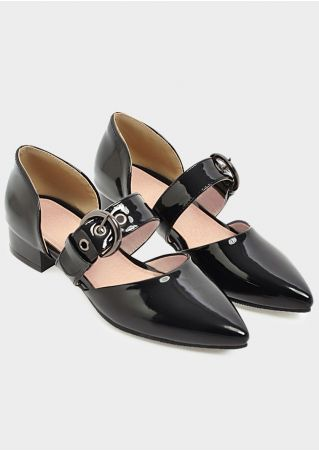 Solid Buckle Strap Pointed Toe Flats