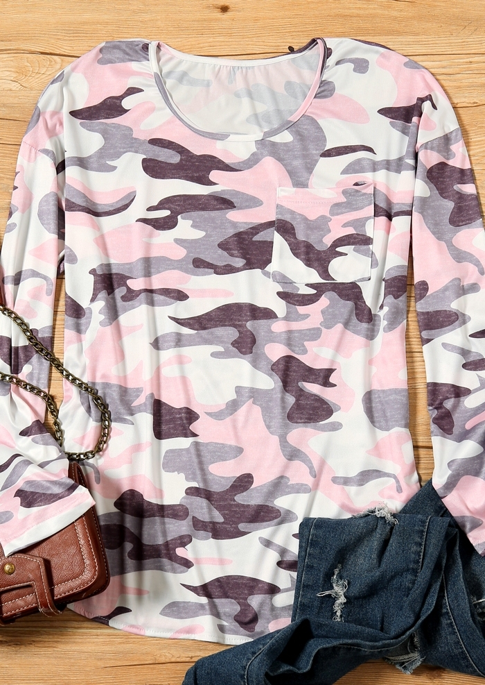 Camouflage Printed Long Sleeve T-Shirt Tee