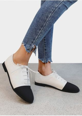 Color Block Lace Up Flats