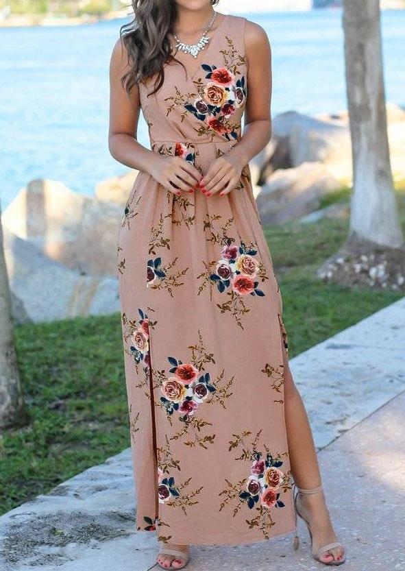 Floral Wrap Slit Maxi Dress without Necklace