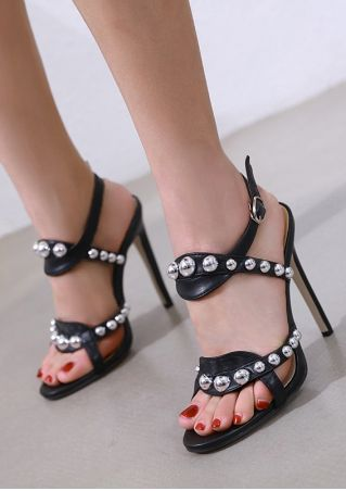 Beading Buckle Strap Heeled Sandals