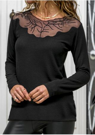 Splicing Long Sleeve Blouse without Necklace
