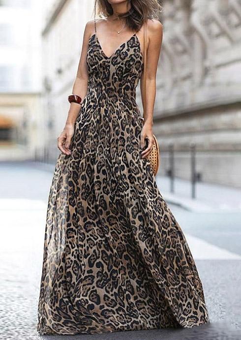 Leopard Printed Spaghetti Strap Maxi Dress