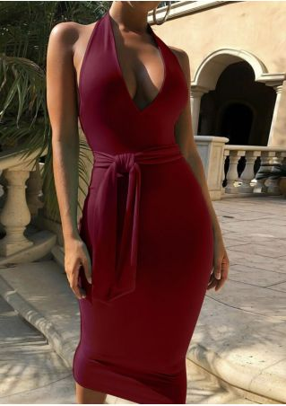 Solid Deep V-Neck Bodycon Dress