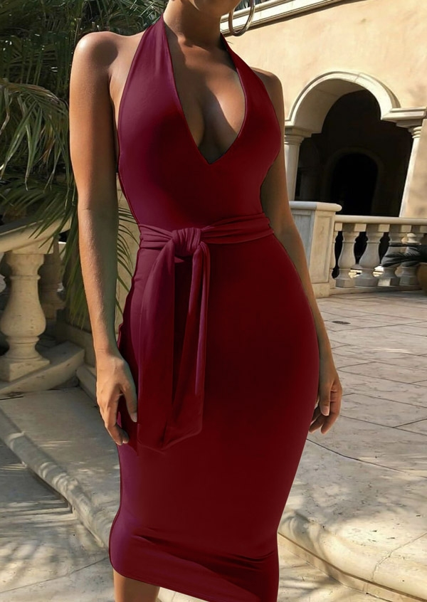Solid Deep V-Neck Bodycon Dress