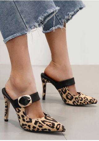 Leopard Pattern Buckle Strap Heels