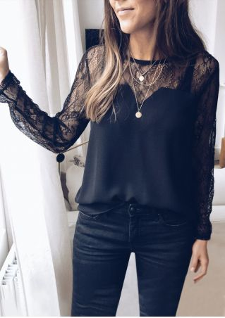 Solid Lace Splicing Long Sleeve Blouse without Necklace