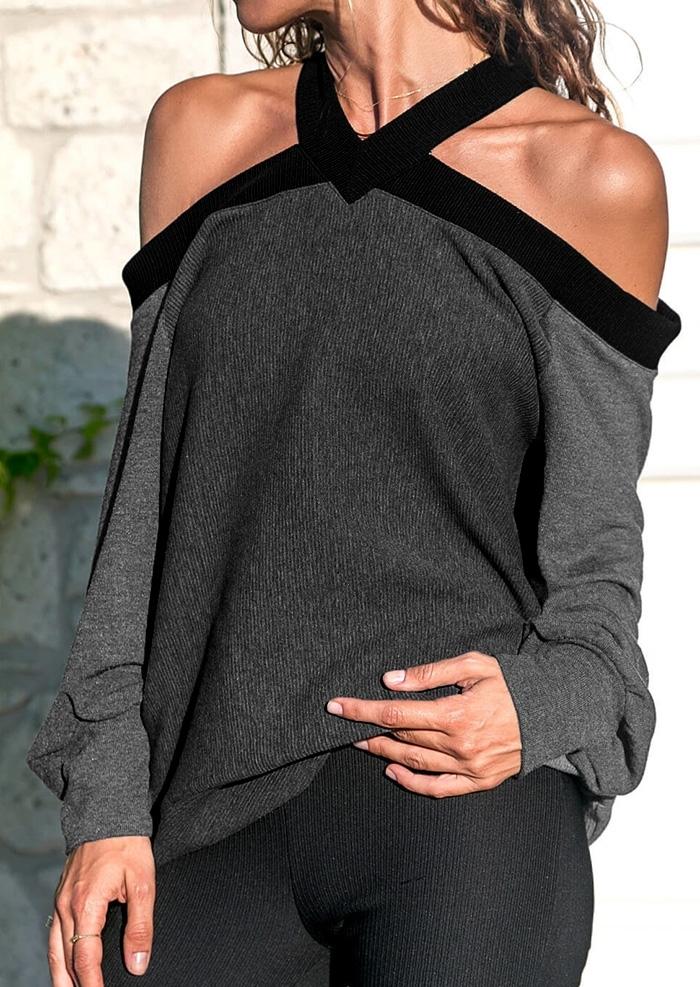 Color Block Cold Shoulder Blouse