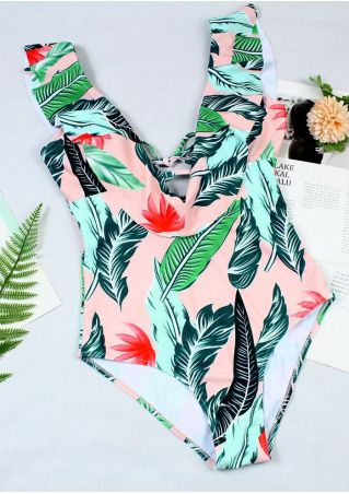 Leaf Ruffled One-Piece Swimsuit without Necklace
