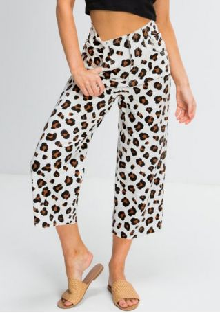 Leopard Printed Pocket Wide Leg Pants