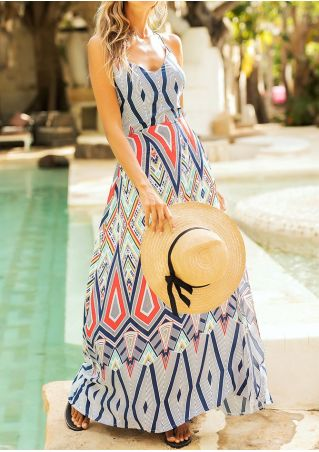 Geometric Backless Sleeveless Maxi Dress
