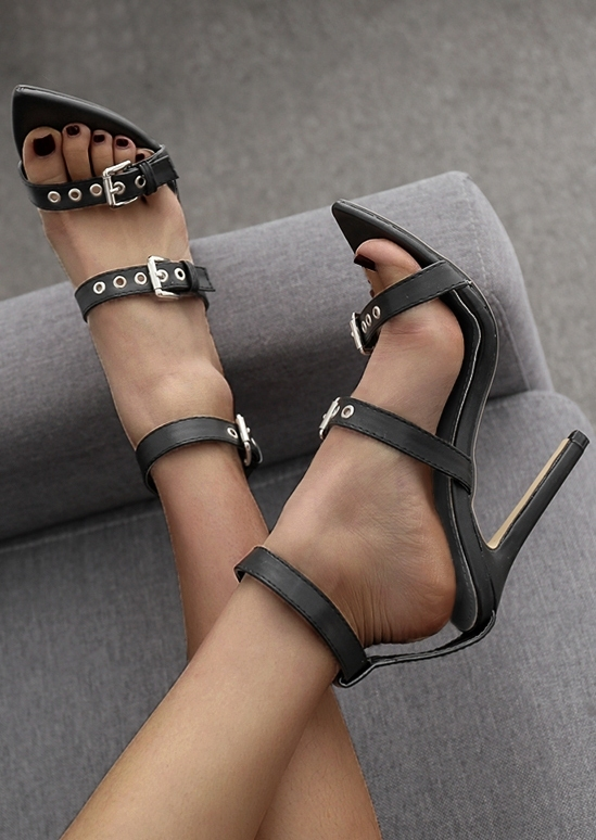 Ankle Strap Buckle Heeled Sandals