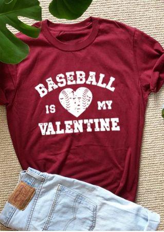 Baseball Is My Valentine T-Shirt Tee