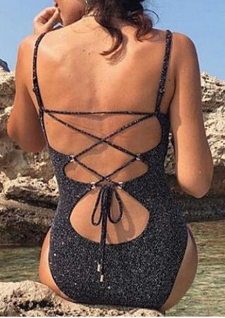 Cross-Tied Backless One-Piece Swimsuit