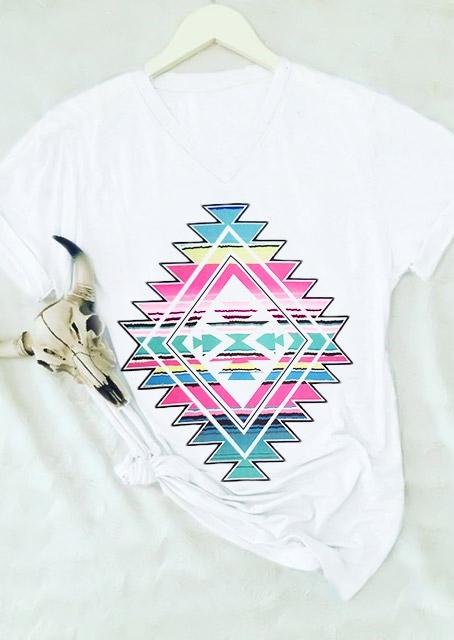Geometric Printed V-Neck T-Shirt Tee