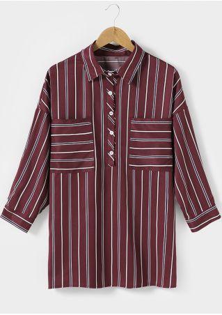 Striped Turn-Down Collar Shirt