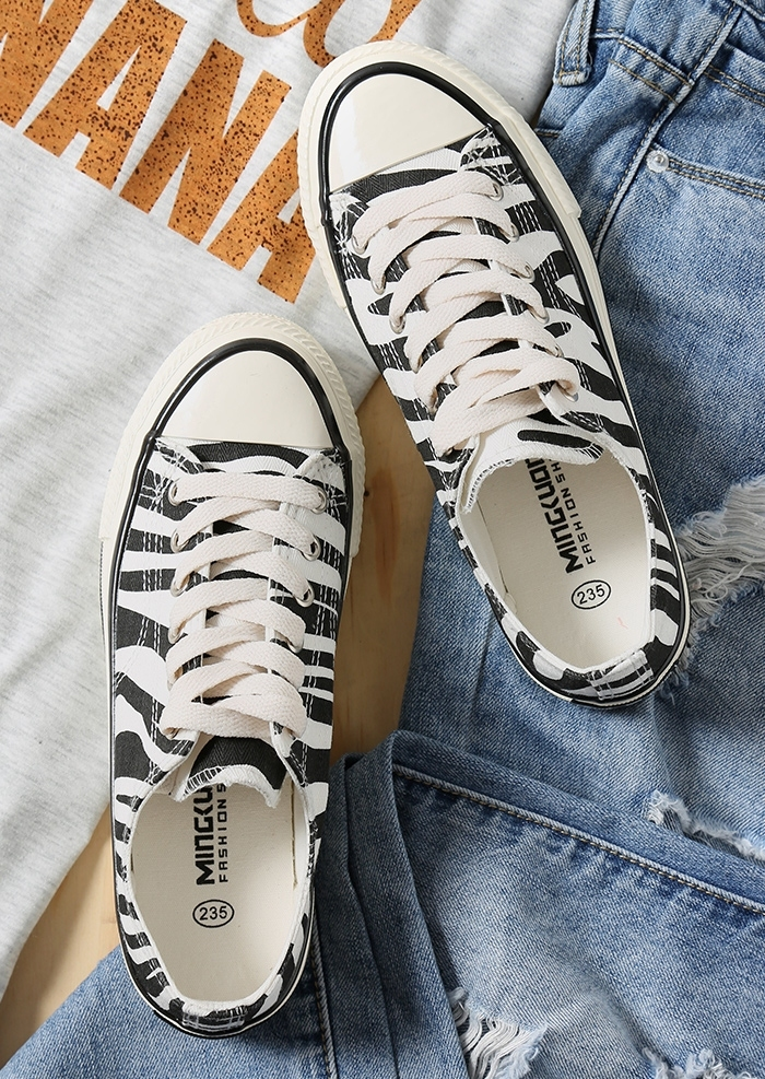 Zebra Pattern Lace Up Sneakers