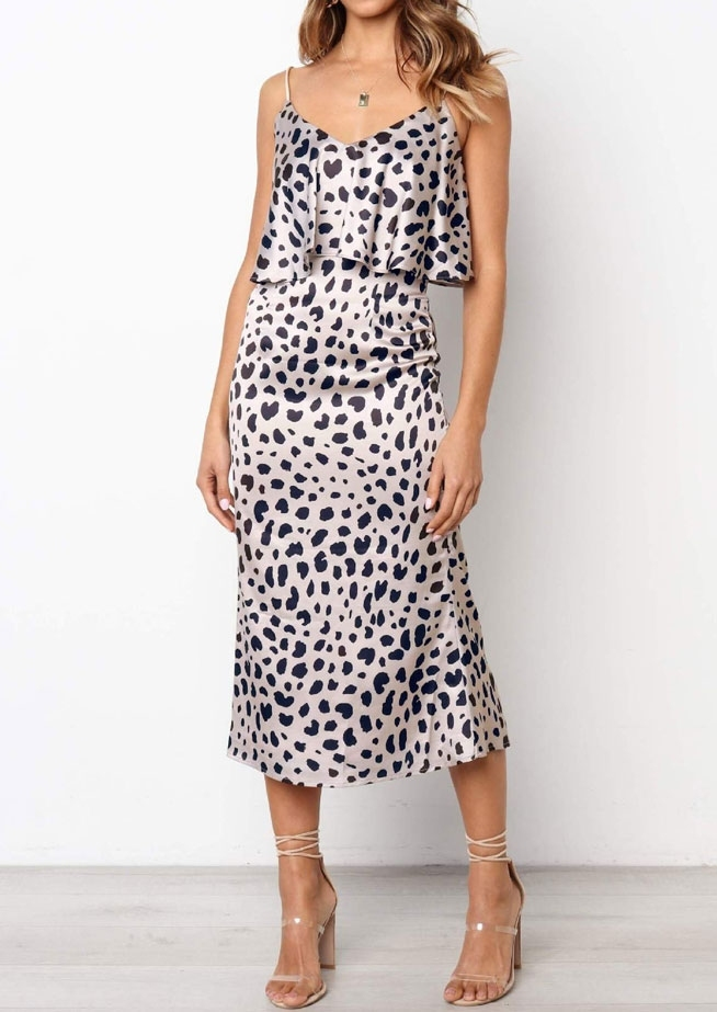 Leopard Printed Layered Casual Dress without Necklace