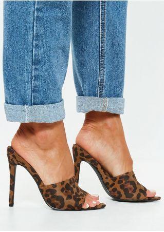 Leopard Pattern Peep Toe Heels
