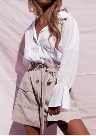 Solid Flare Sleeve Shirt