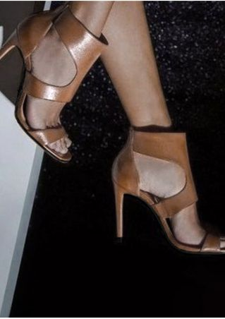 Solid Fashion Heeled Sandals