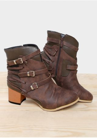 Splicing Buckle Lace Up Heeled Boots