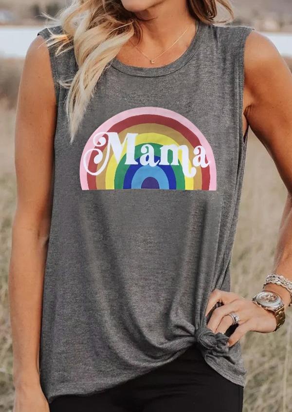 Mama O-Neck Rainbow Tank