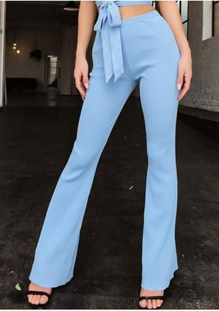 Solid High Waist Flare Pants