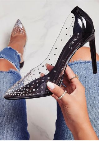 Transparent Splicing Pointed Toe Heels
