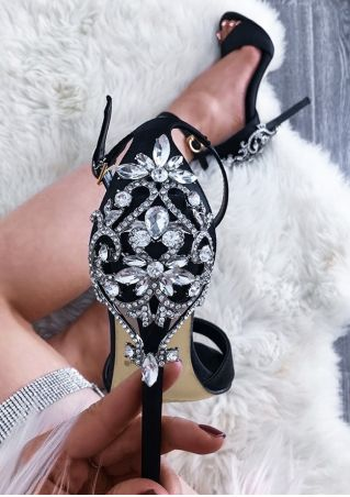 Splicing Peep Toe Heeled Sandals