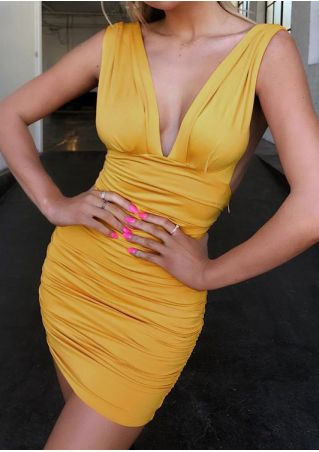 Solid Deep V-Neck Ruched Bodycon Dress