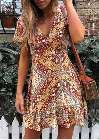 Bohemian Floral V-Neck Mini Dress without Necklace