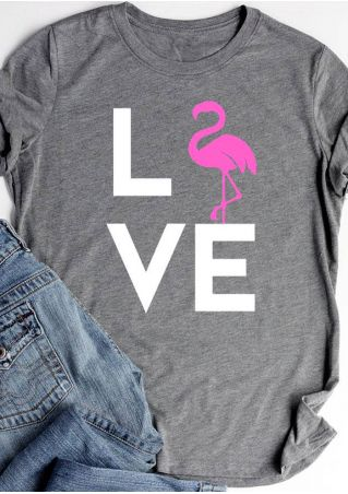 Love Flamingo O-Neck T-Shirt Tee