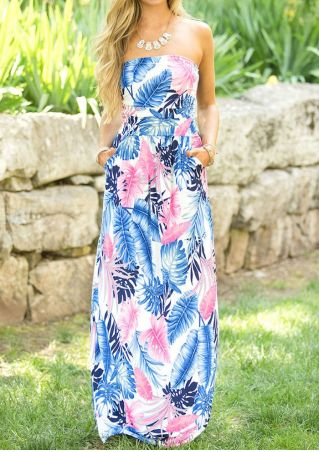 Palm Leaves Printed Pocket Maxi Dress