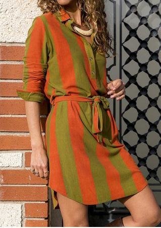 Striped Tie Color Block Casual Dress