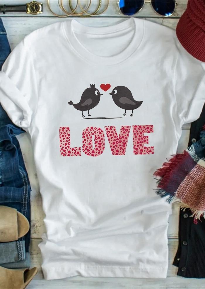 Love Bird Heart O-Neck T-Shirt Tee