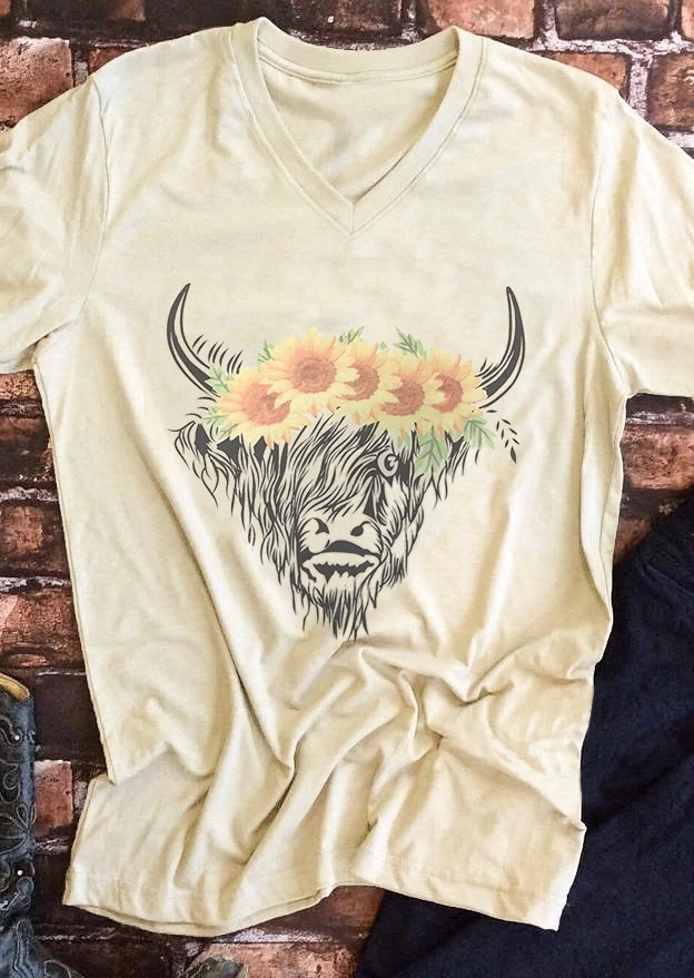 Cow Floral V-Neck T-Shirt Tee