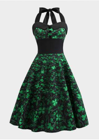 Four-Leaf Clover Vintage Casual Dress