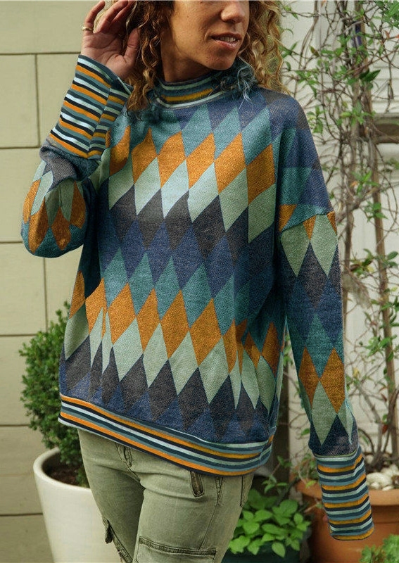 Geometric Printed Long Sleeve T-Shirt Tee