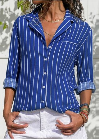 Striped Button Turn-Down Collar Shirt without Necklace