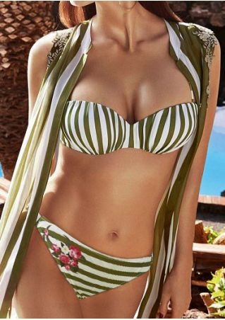 Striped Floral Adjustable Strap Bikini Set