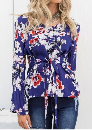 Floral Tie Flare Sleeve Blouse without Necklace