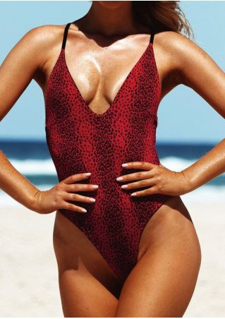 Printed Cross Tie One-Piece Swimsuit