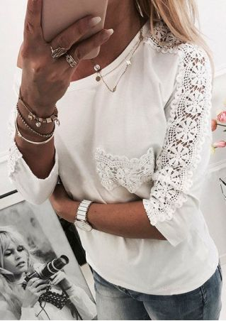 Solid Lace Floral One Shoulder Blouse without Necklace