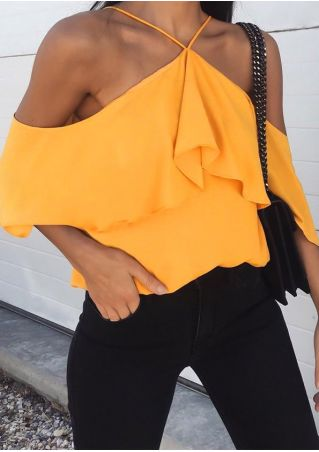 Solid Layered Cold Shoulder Blouse