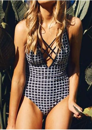 Plaid Criss-Cross One-Piece Swimsuit