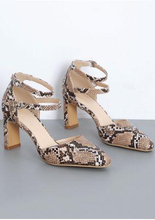 Snake Skin Pattern Ankle Strap Heels