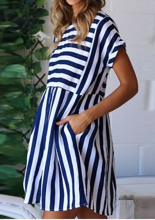 Striped Pocket Short Sleeve Mini Dress
